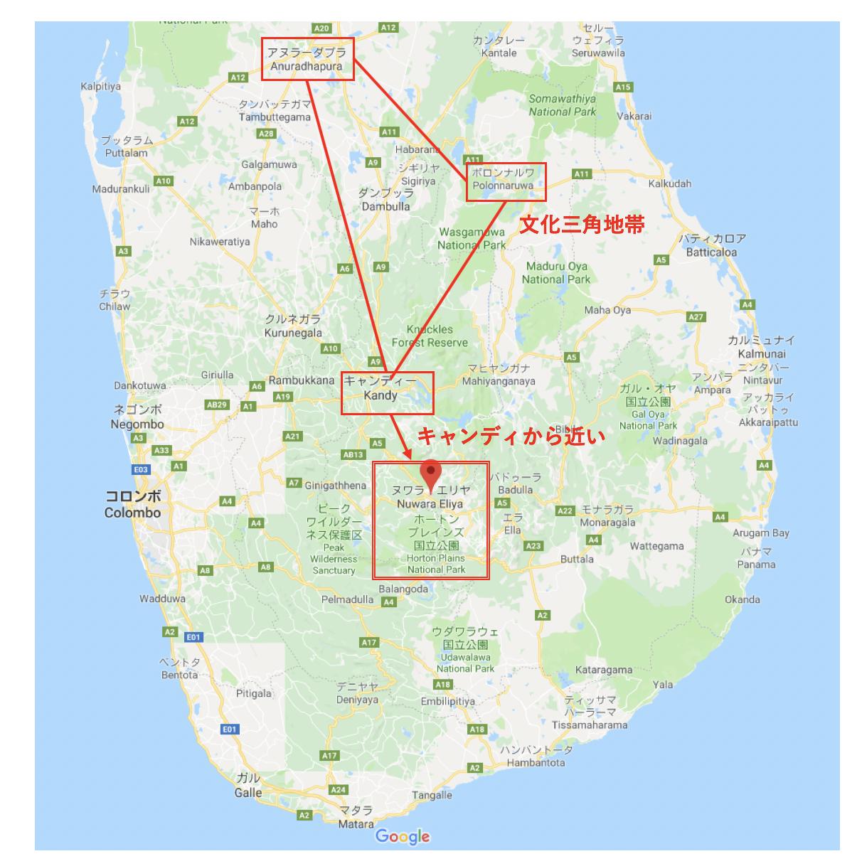 ヌワラエリヤの位置