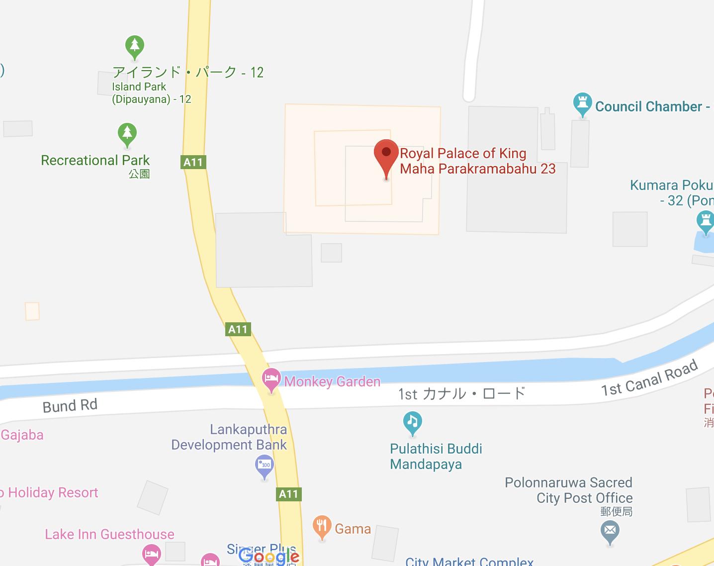 宮殿跡の詳細な地図