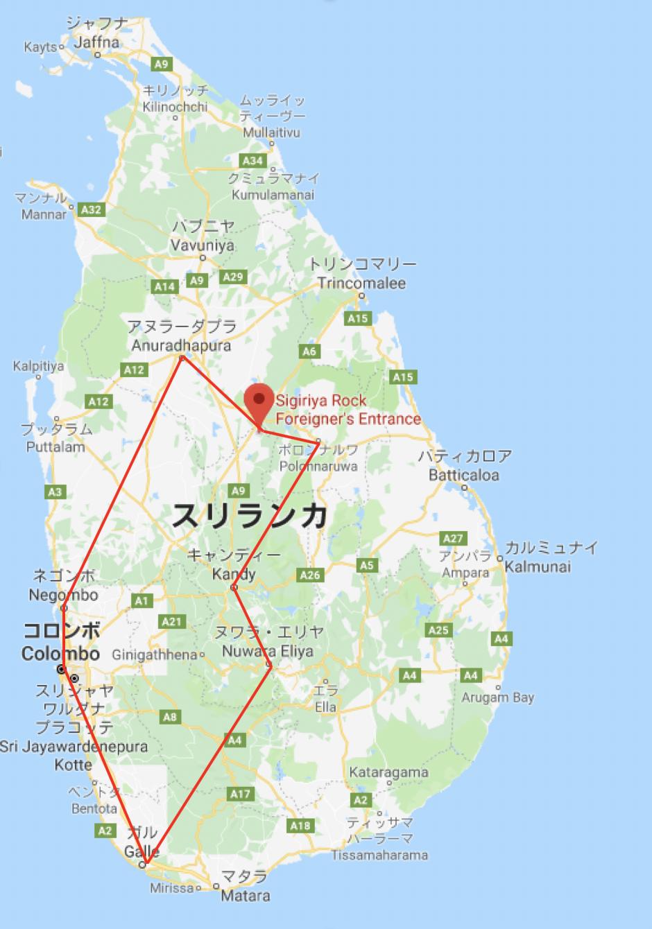 スリランカ旅行のルート