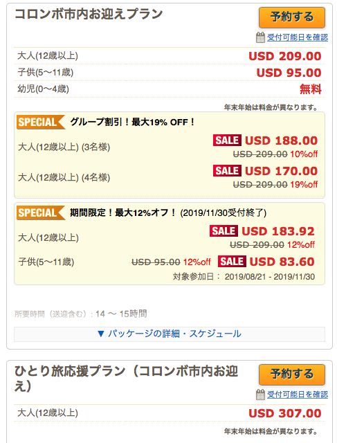 現地ツアーの価格