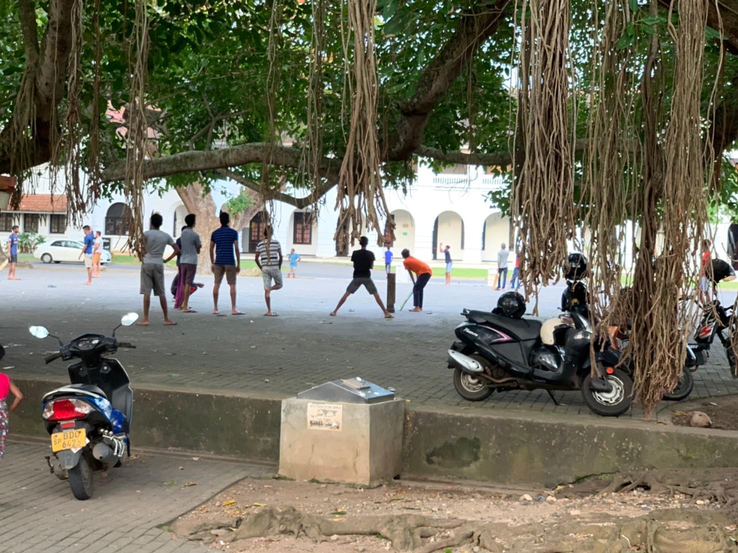 広場でクリケットを楽しむ現地の方達