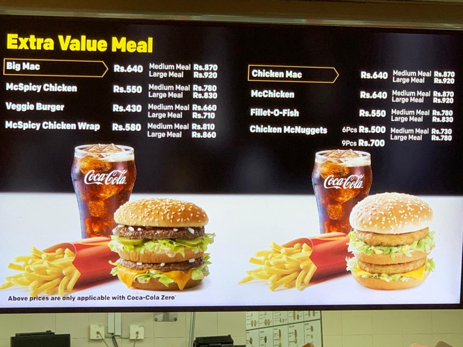 スリランカのビッグマックの価格